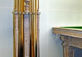 Burroughes & Watts Limed Oak cue stand c1890