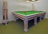 Table shown with matching cue stand