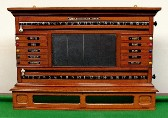 Burroughes & Watts billiard/life pool wall scoreboard in medium/light oak