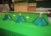 brass bar with 3 x green enamel shades