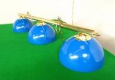 brass bar with 3 x blue enamel domed shades