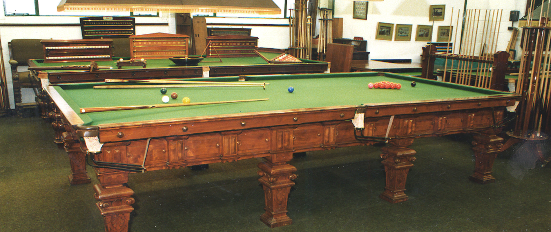Full Size Billiard table by Norval Carved Columbian pine circa 1870